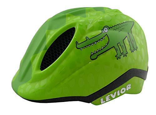 KED Fahrradhelm Primo Green Croco in der Größe S (Kopfumfang 46-51cm) - Kinderhelm in Robuster maxSHELL- Technologie und Quicksafe-System