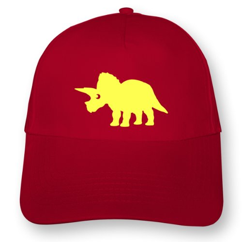 plot4u Dinosaurier Triceratops Kinder Kappe für Jungen und Mädchen Beechfield Junior Original 5 Panel Cap OneSize rot/neon gelb