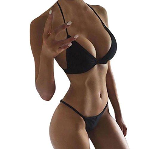 Bikini Damen Push Up, LHWY Frauen Mädchen Bademode Einfarbige Riemen BHs Bandage Push-Up Gepolsterter Badeanzug Bade Beachwear Schwarz Weiß Bikini Set (S, Schwarz) (Bra Secret Pink Victorias)
