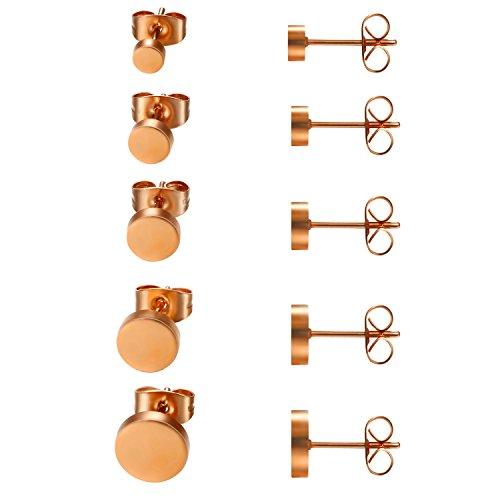 JewelryWe Schmuck 5 Paare Ohrstecker Set, Edelstahl flache runde poliert Ohrringe Ohr-Schmuck für Damen & Herren, Rosegold, Durchmesser 4,5,6,7,8mm