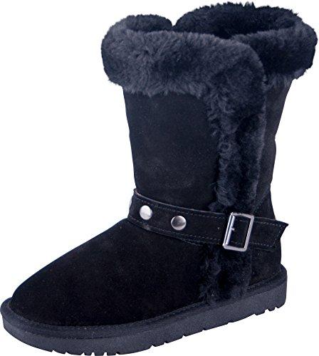 Gefüttert Fell Mit Stiefel (Almwerk Damen Winter-Stiefel Boots Schlupf-Stiefel aus Echtleder warm gefüttert in verscheidenen Farben, Schuhgröße:39, Farbe:Schwarz)