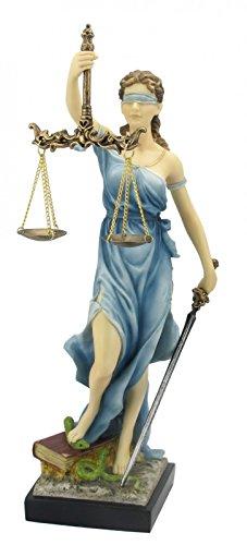 Justitia Figur bunt römische Göttin der Gerechtigkeit 33 cm Skulptur Gericht