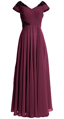 MACloth Women Cap Sleeve Long Mother of Bride Dress Wedding Party Formal Gown Wine Red