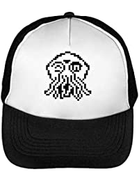 8bit Pixelated Cthulhu Monster Gorras Hombre Snapback Beisbol Negro Blanco  One Size 88baf38cfe0