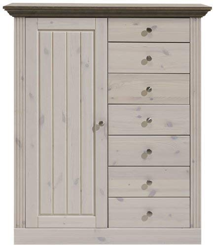 Steens Monaco Hohe Kommode, 1 Tür, 7 Schubladen, 103 x 122 x 46 cm (B/H/T), Kiefer massiv, weiß grau -