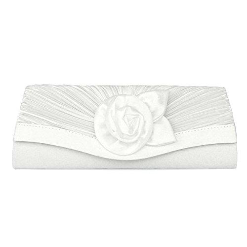 Frauen Satin Plissee Blume Hausabendtasche Clutch Handtasche Be- Und Entladen Griff White