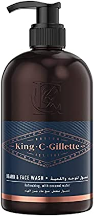King C. Gillette Men's Beard and Face Wash with Coconut Water, Argan Oil and Avocado Oil, 350 ml