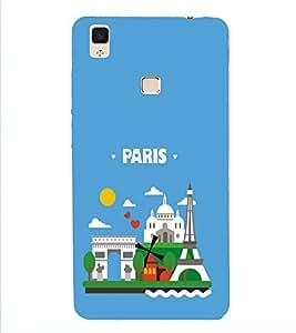 HiFi Designer Phone Back Case Cover Vivo V3 :: VivoV3 :: Vivo V3 Faster than Faster ( Paris Logo )