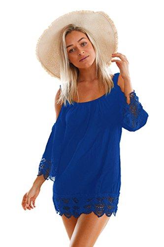 Blau Lacy Crochet Trim Crinkle kalte Schulter Beachwear Größe 38-40 (Lacy Leggings Für Frauen)