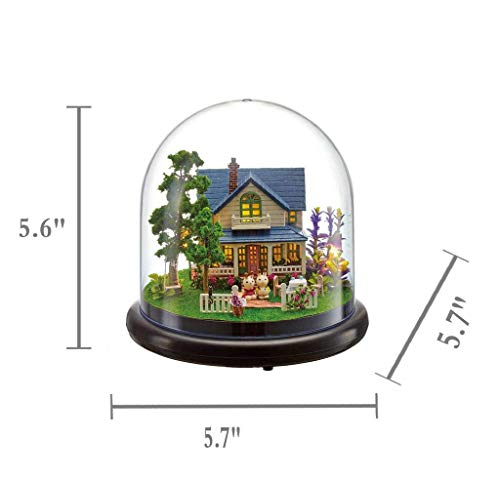 Yinitoo 3D Puzzles Wooden Miniature Dollhouse DIY Kit w/ Light-The Spring Series Acrylic Dome Dollhouses Accessories Dolls Houses With Furniture & LED & Music Box Best Gift (Blue cottage)