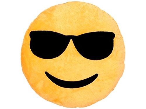 Emoji Kissen Emoticon Emojicon Lach Smiley Kissen Dekokissen Stuhlkissen Sitzkissen gelb rund, Variante wählen:Cool Ki-04 von Alsino
