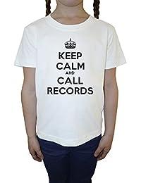 Keep Calm And Call Records Blanco Algodón Niña Niños Camiseta Manga Corta Cuello Redondo Mangas White Girls Kids T-shirt