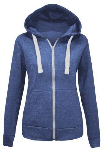 CANDY FLOSS LADIES PLAIN ZIP HOODED SWEATSHIRT FLEECE JACKET DENIM NAVY SIZE 18