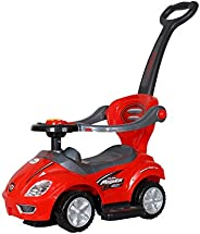 Toy House 3 in 1 Deluxe Mega Push Car Ride On with Push Handle (Red)