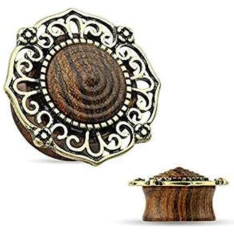 19mm oro antiguo plateado diseño afiligranado filigrana de madera orgánica Saddle Plug, mejor calidad material pendiente túnel