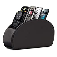 Hossejoy Remote Control Holder with 5 Compartments - PU Leather Remote Caddy Desktop Organizer for TV Remote, DVD, Controllers - Media Accessory Storage & Organizer
