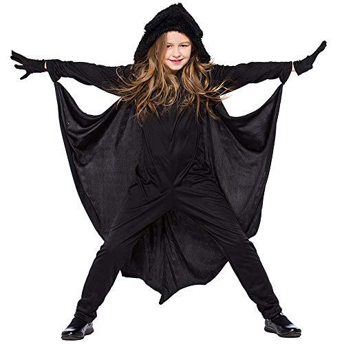 JF Halloween Kids Bat Kostüm, Jumpsuit Tier Cosplay Kostüm mit Handschuhen für Unisex - Batgirl Teen Kostüm