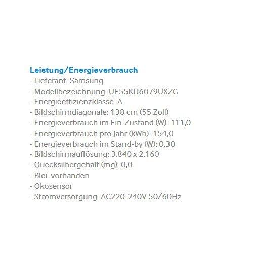 Samsung UE55KU6079UXZG 138 cm (55 Zoll) Fernseher (Ultra HD, DVB-T2, DVB-C, DVB-S, Smart TV, WLAN) [Energieklasse A] -
