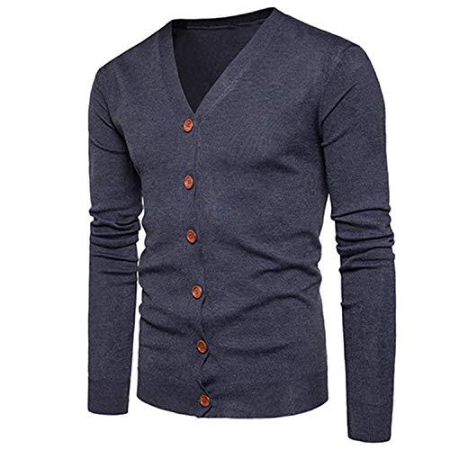 Men Button Cardigans Sweaters New Casual Men Solid Pullover V Collar Thick Cashmere Sweater Outerwear Clothing