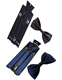 Sunshopping unisex black and blue stretchable suspenders with bow combo (r-233)