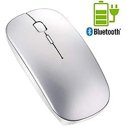 Gaming Souris Bluetooth sans Fil de - Tsmine Souris Silencieuse Niveaux de DPI Ajustables Souris sans Fil Mince pour Ordinateur Portable MacBook PC Ordinateur - Argent