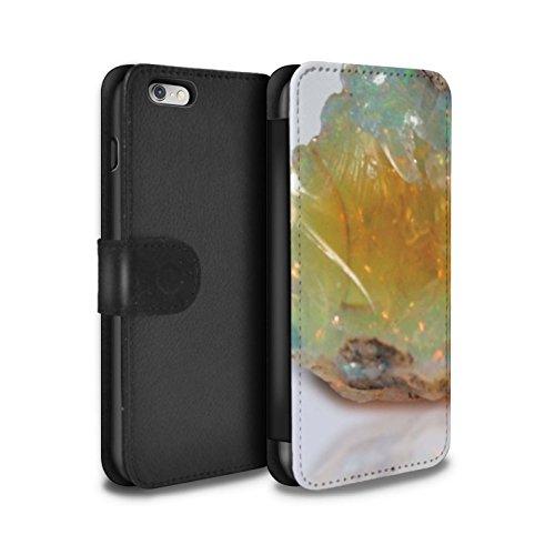 STUFF4 PU-Leder Hülle/Case/Tasche/Cover für Apple iPhone 8 Plus / Februar/Amethyst Muster / Edelstein/Stein Kollektion Oktober/Opalstein