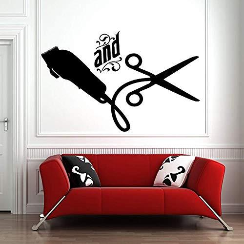 woyaofal Friseursalon Wandaufkleber Fenster Aufkleber Aufkleber Friseur Haar Werkzeuge Schere Friseur Beauty Salon Friseursalon Zeichen Dekor 57x36cm
