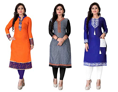 Kesari King Women's A-Line Pack Of 3 Cotton Printed Semi Stiched Kurti Material(1003430)