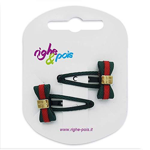 141 – 401 – Pinces pour Cheveux – Set 2 pièces pinces pour cheveux clic clac cm 3 revêtement tissu gros grain bicolore avec noeud et boucle