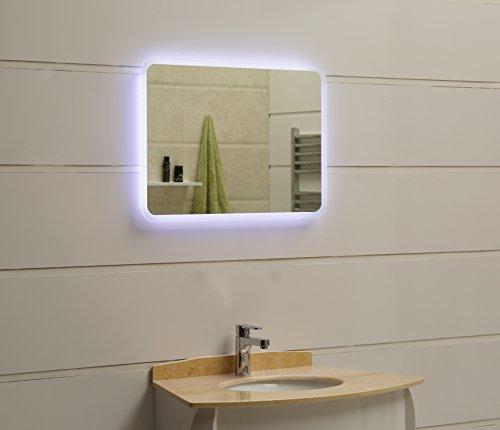 80 x 60 cm Design Specchio Del Bagno Con Illuminazione LED GS086 Interruttore tattile Bianco Freddo IP44