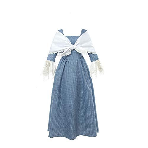 NSPSTT Damen Viktorianischen Kleid Bauer Kostüm Dienstmädchen Kostüm Prairie Dress mit weißem Schal EU (Bauern Kostüm)