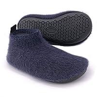Dream Bridge Kids Mohair Slippers with Anti-Slip Sole for Boys Girls Dark Blue