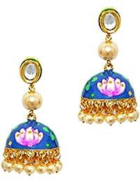 Elegant Lotus Shape Hand Painted Meenakari Kundan Pearl Blue Stone Gold Plated Brass Jhumki Earrings For Women