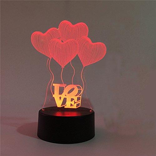 Conwea 3D Tisch Licht Lampe 3D optische Illusion Liebe Modell Nacht 7 Farbe ändern USB Touch Button LED Tisch Tisch Lampe Lampe