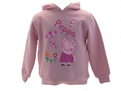 Felpa peppa pig nuova farfalle e fiori - colore rosa con cappuccio taglie 10 anni abbigliamento bambini