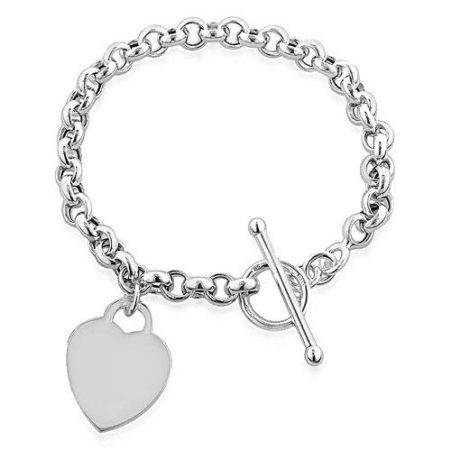 Armband Herz-Anhänger Knebelverschluss Sterling-Silber 925 20cm