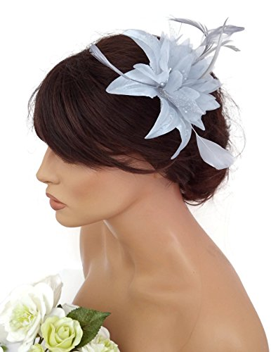 Feather and Flower Hair comb slide Fascinator with Glittery Spotty net Bridal Wedding Races Prom (Silver Grey) by Inca