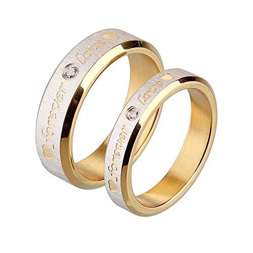 KnSam Eheringe Paar Paarringe Herren Ringe Mit Gravur Forever Love Weiß Zirkonia Breite 6 & 4mm Partnerring Verlobung Ringe Gold Gr.49 (15.6) & Gr.60 (19.1) Gold Ringe