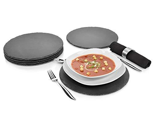 Sänger Schieferplatten Set 6 teilig | Durchmesser 30 cm | Mit 3 Füßen aus Moosgummi zum Schutz Ihrer Oberflächen | Perfektes Servieren Ihrer Speisen -