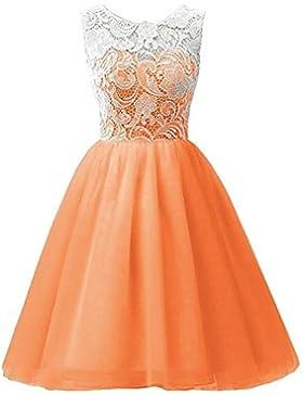 LSERVER-Mädchen Kinder Kleider Festlich Brautjungfern Kleid Prinzessin Hochzeit Party Kleid Spitze Spleiß Chiffon...
