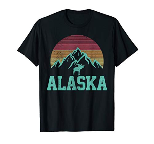 Alaska - Vintage Elch Berge Natur Outdoor Souvenir  T-Shirt - Alaska-kinder-t-shirt