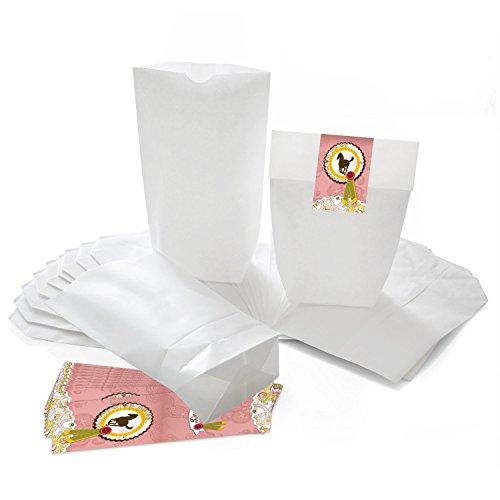25 weiße Geschenktüten Papier-Tüten mit Aufkleber Sticker PFERD in rosa pink 14 x 22 x 5,6 cm Kinder-Geburtstag Mitgebsel Mädchen Geschenk-Verpackung Reiten Geschenk-Säckchen Beutel