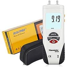 Manómetro, risepro® Medidor Digital de presión de aire y manómetro de presión diferencial HVAC comprobador de presión de gas