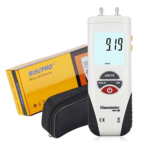 Manometer, RISEPRO® Digitales Luftdruckmessgerät UND Differenzdruckmanometer HVAC Gasdruckprüfgerät (Differenzdruck-steuerung)