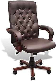 Ledersessel Vintage Bürostuhl Schreibtisch Stuhl Leder Armlehnstuhl Chesterfield