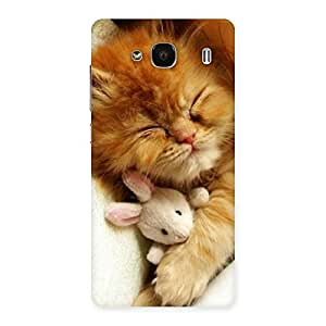 Special Sleeping Cat with Bunny Multicolor Back Case Cover for Redmi 2
