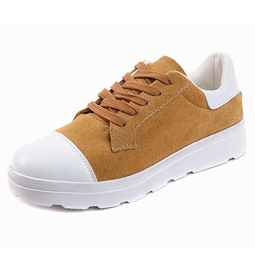 SONGYUNYANKorean College des femmes moulins cuir sable plaque chaussures fashion baskets Yellow