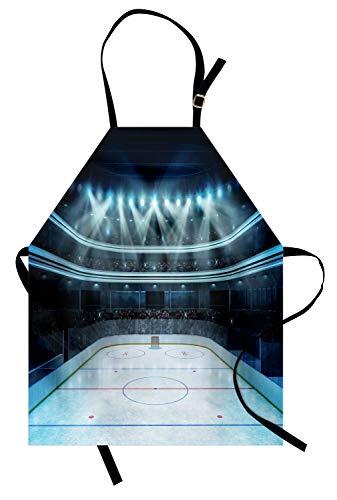 Abakuhaus Eishockey Kochschürze, Foto von Einer Sportarena voller Leute Fans Publikum Turnier Championship Match, Farbfest Höhenverstellbar Waschbar Klarer Digitaldruck, Mehrfarbig