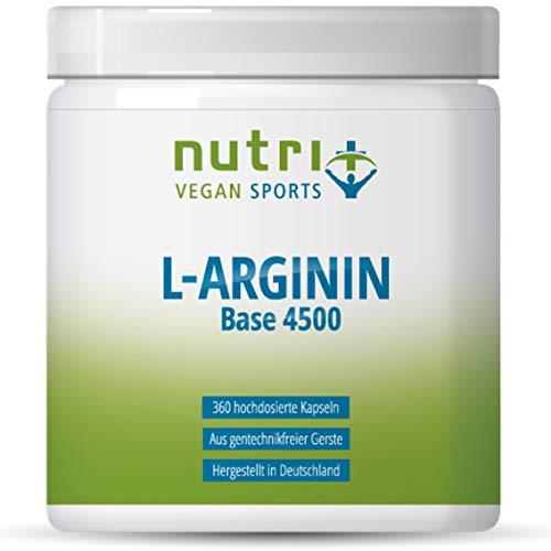 L-ARGININ BASE KAPSELN - Höchste Dosierung - 99% reines L-Arginine - 360 Caps ohne Magnesiumstearat - Premiumqualität hergestellt in Deutschland - Nutri-Plus Vegan Sports