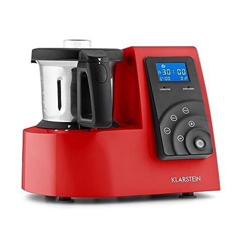 Klarstein Kitchen Hero robot de cuisine 9 en 1 avec fonction chauffante et thermos de 2L (600W/1300W, 9 vitesses, fonction cuiseur-vapeur, mixeur, hachoir,batteur) - rouge
